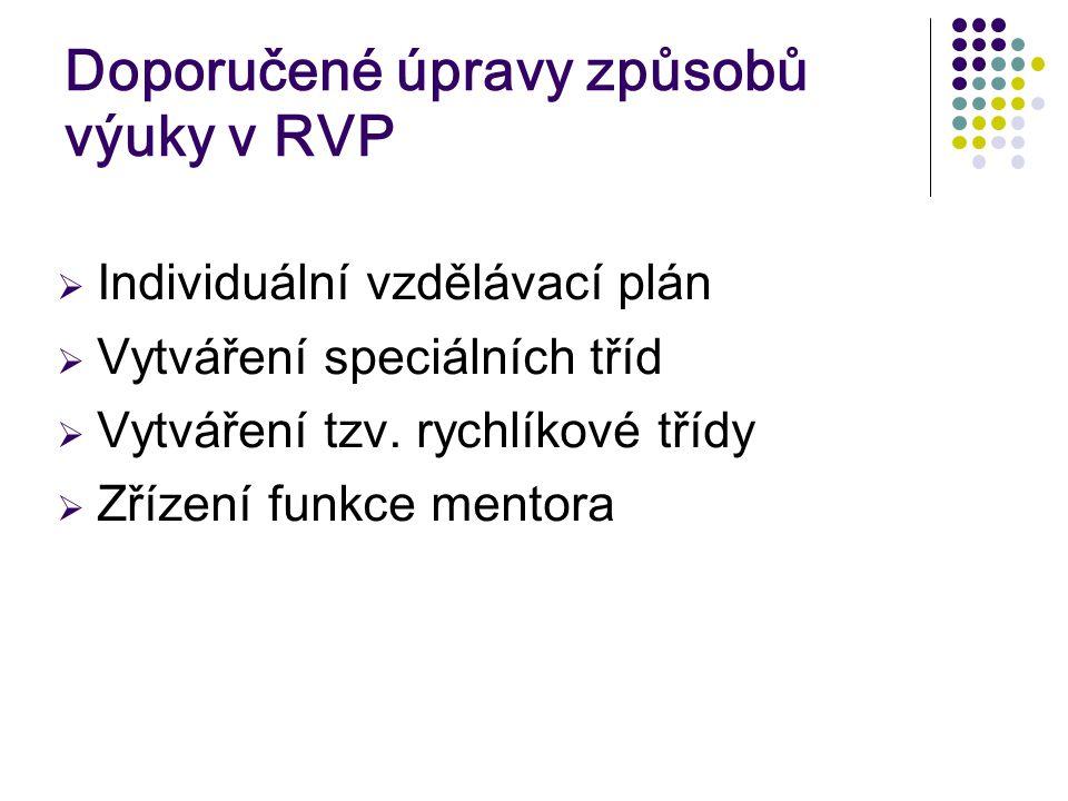 Doporučené úpravy způsobů výuky v RVP