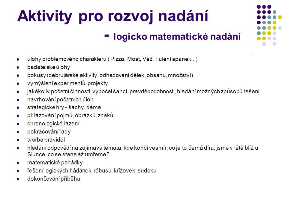 Aktivity pro rozvoj nadání - logicko matematické nadání