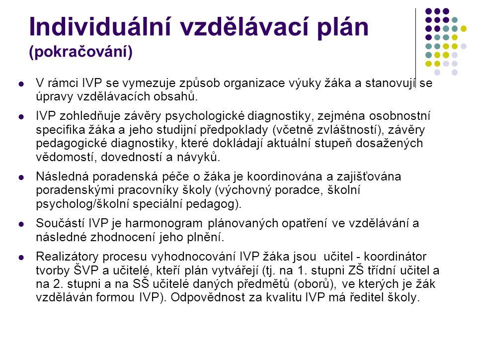 Individuální vzdělávací plán (pokračování)