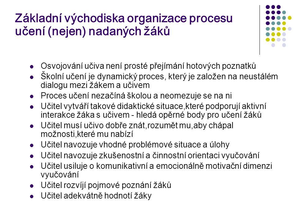 Základní východiska organizace procesu učení (nejen) nadaných žáků