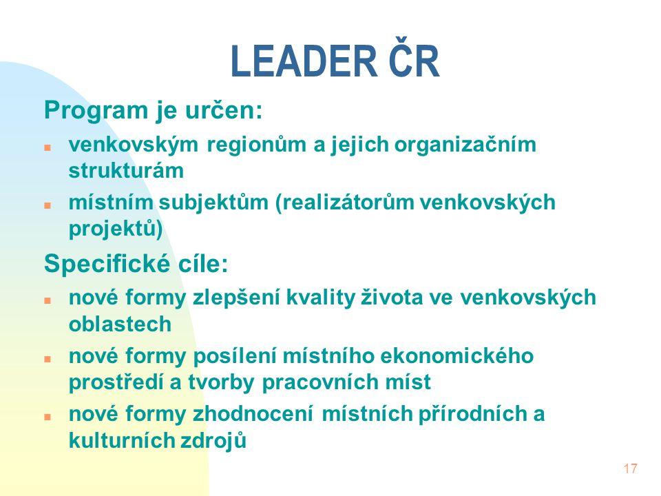 LEADER ČR Program je určen: Specifické cíle: