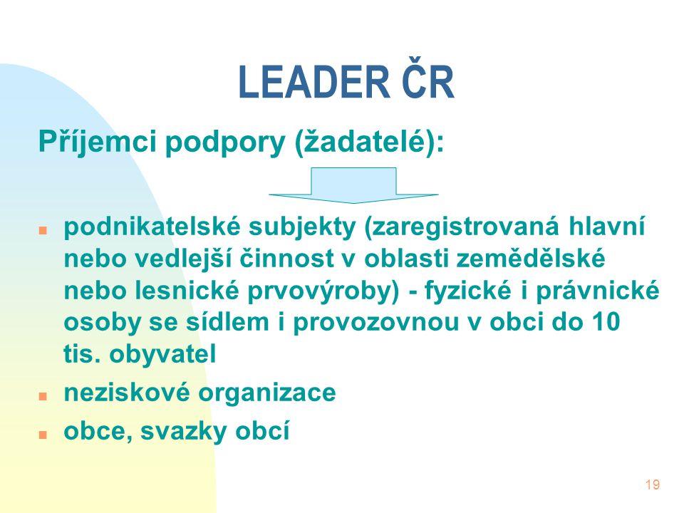 LEADER ČR Příjemci podpory (žadatelé):