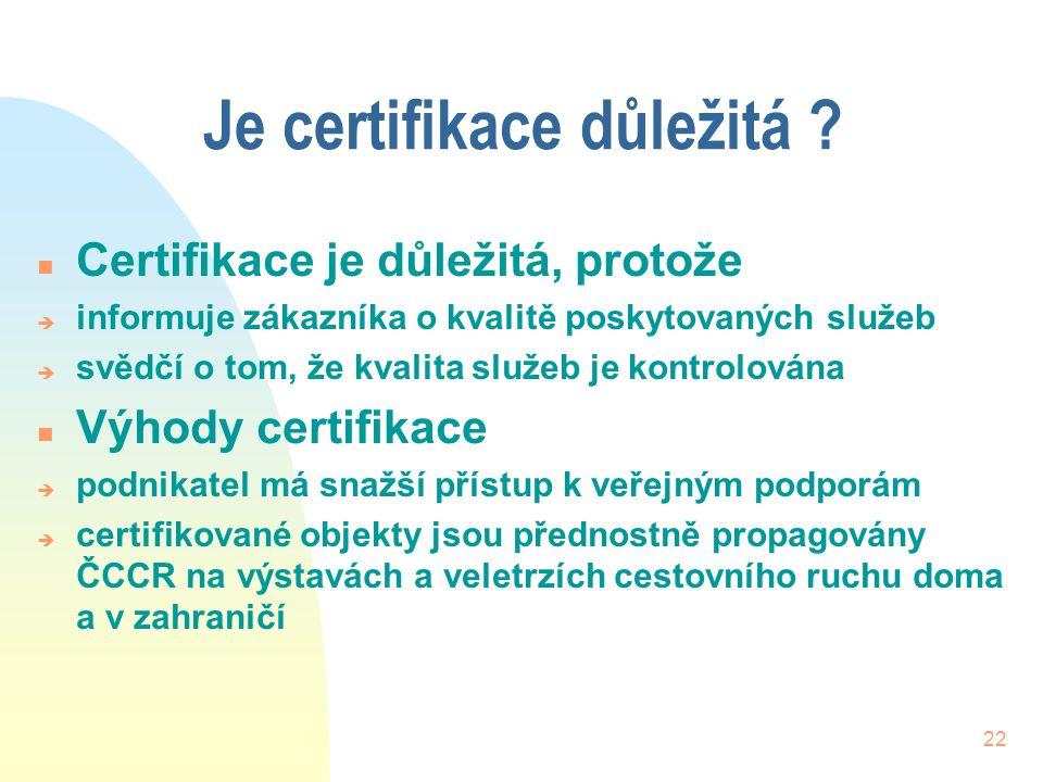 Je certifikace důležitá