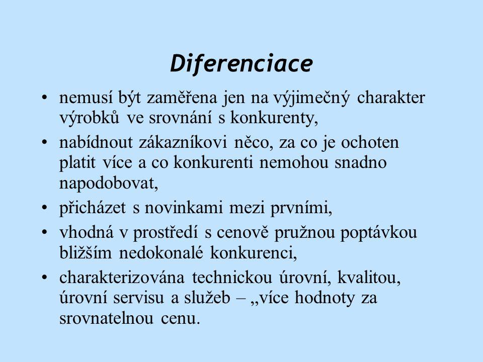 Diferenciace nemusí být zaměřena jen na výjimečný charakter výrobků ve srovnání s konkurenty,