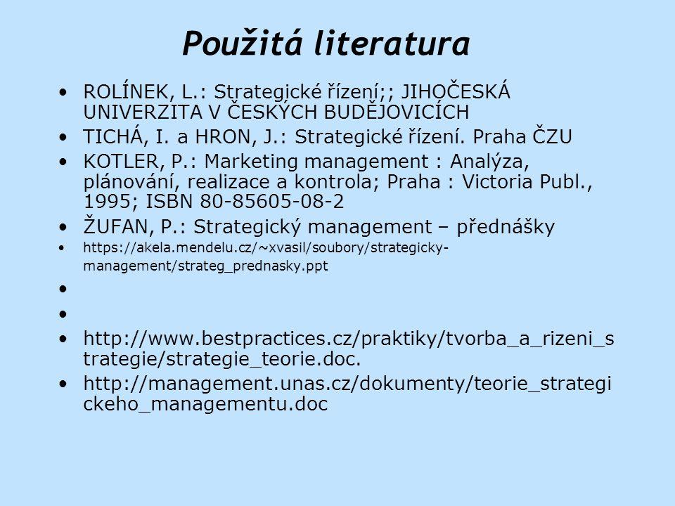 Použitá literatura ROLÍNEK, L.: Strategické řízení;; JIHOČESKÁ UNIVERZITA V ČESKÝCH BUDĚJOVICÍCH.