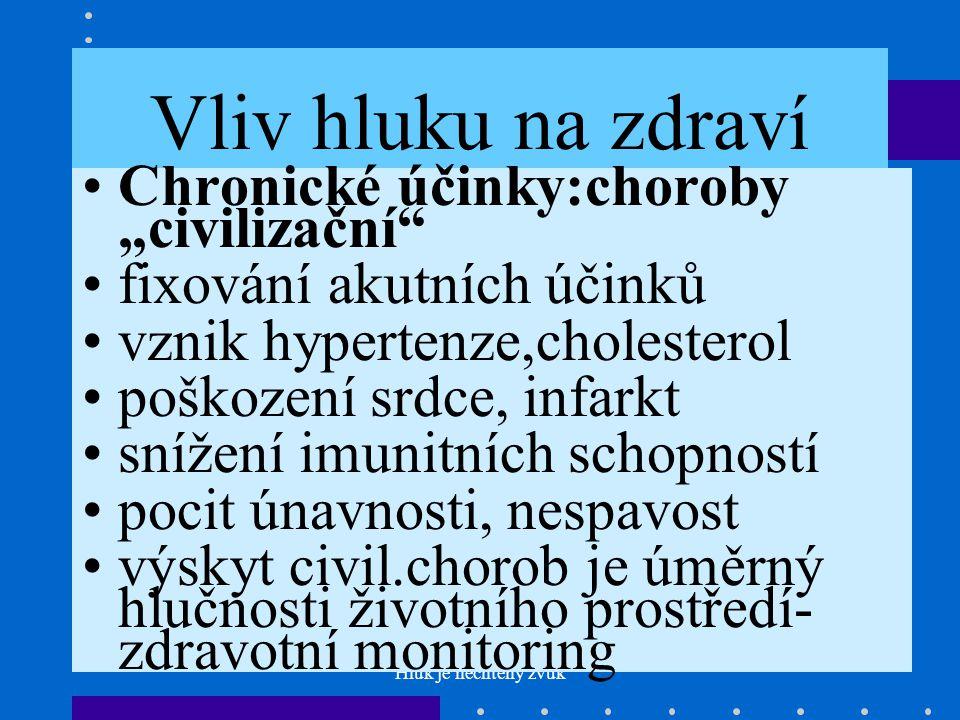 """Vliv hluku na zdraví Chronické účinky:choroby """"civilizační"""