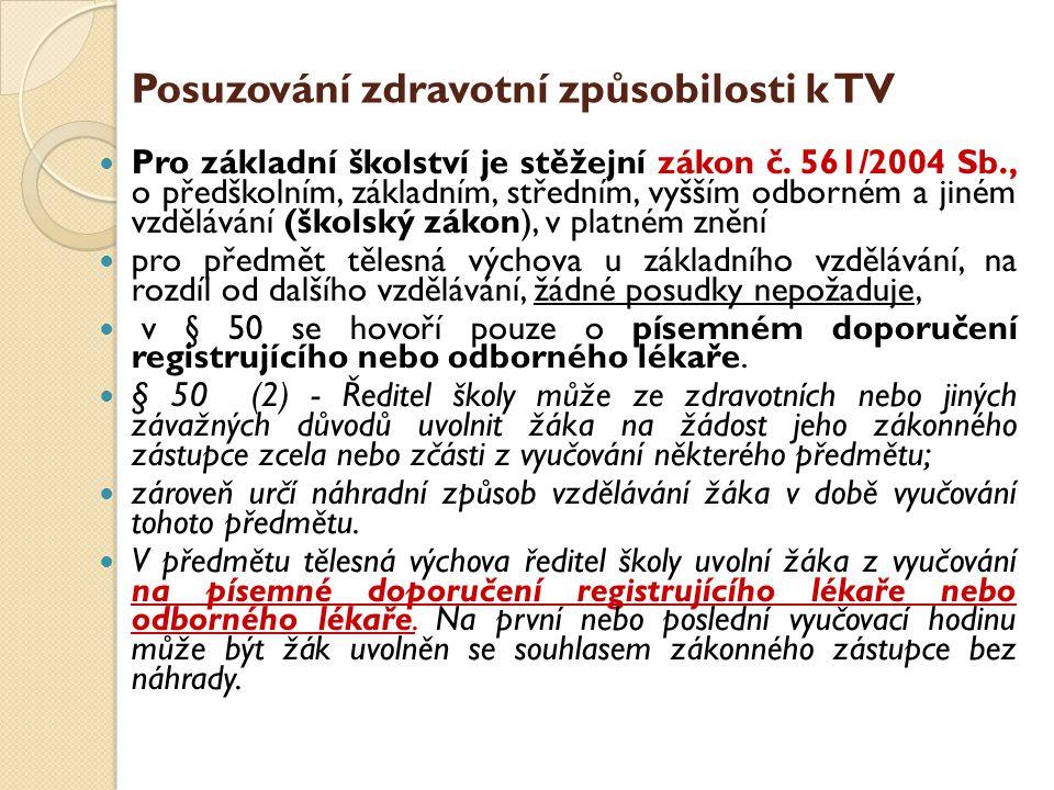 Posuzování zdravotní způsobilosti k TV