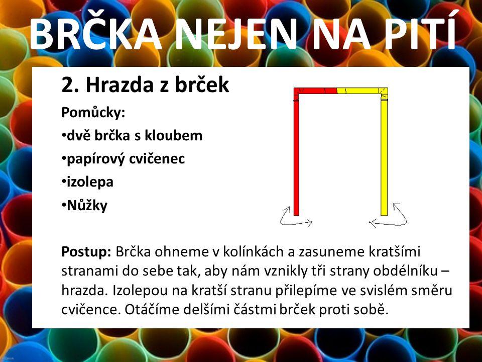 BRČKA NEJEN NA PITÍ 2. Hrazda z brček Pomůcky: dvě brčka s kloubem