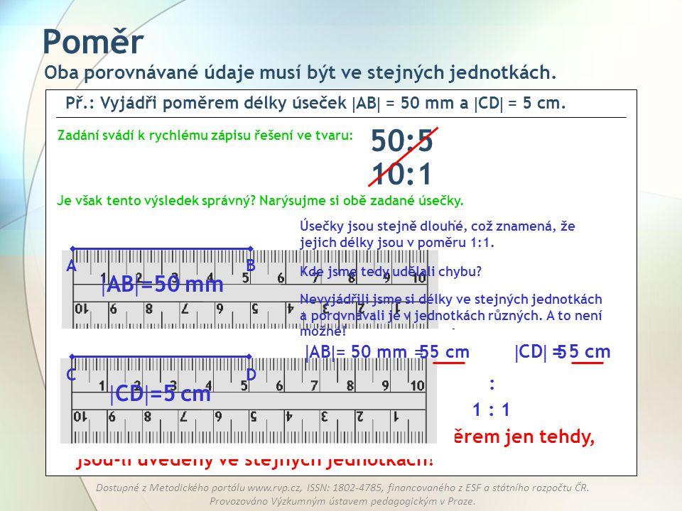Poměr 50:5 10:1 AB=50 mm CD=5 cm