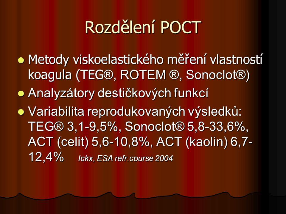 Rozdělení POCT Metody viskoelastického měření vlastností koagula (TEG®, ROTEM ®, Sonoclot®) Analyzátory destičkových funkcí.