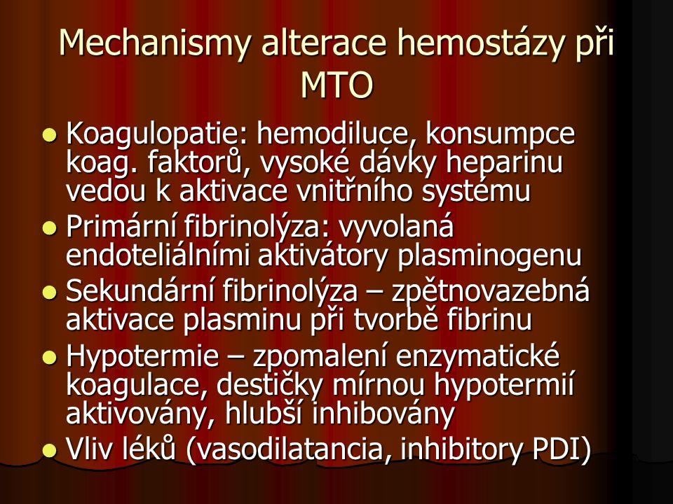 Mechanismy alterace hemostázy při MTO