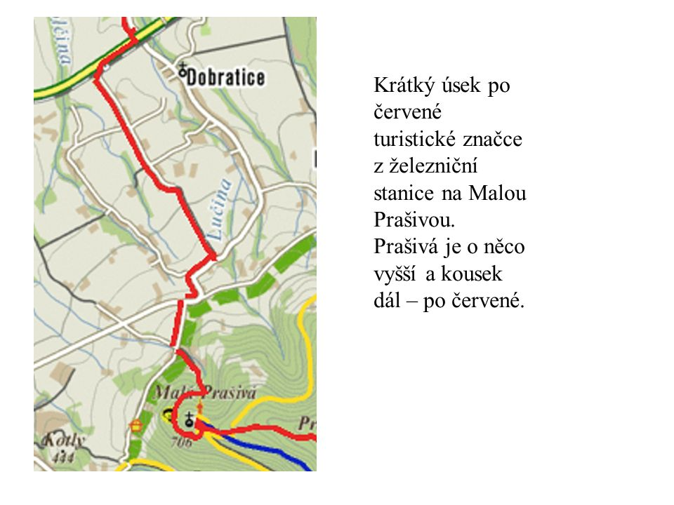 Krátký úsek po červené turistické značce z železniční stanice na Malou Prašivou.
