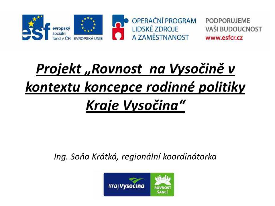 """Projekt """"Rovnost na Vysočině v kontextu koncepce rodinné politiky Kraje Vysočina Ing."""