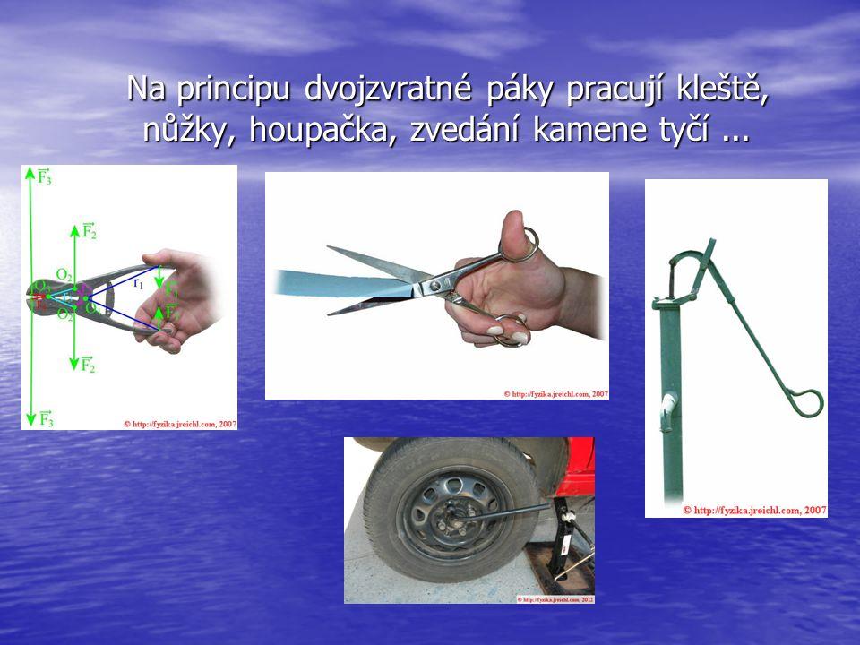 Na principu dvojzvratné páky pracují kleště, nůžky, houpačka, zvedání kamene tyčí ...