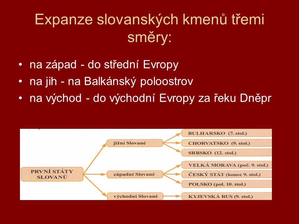Expanze slovanských kmenů třemi směry: