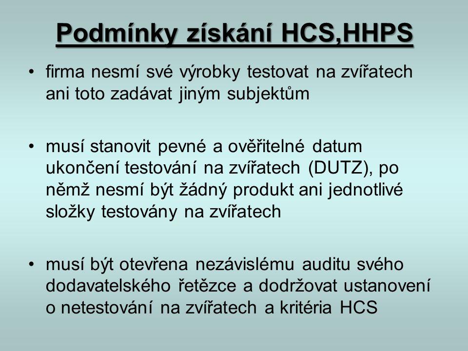 Podmínky získání HCS,HHPS