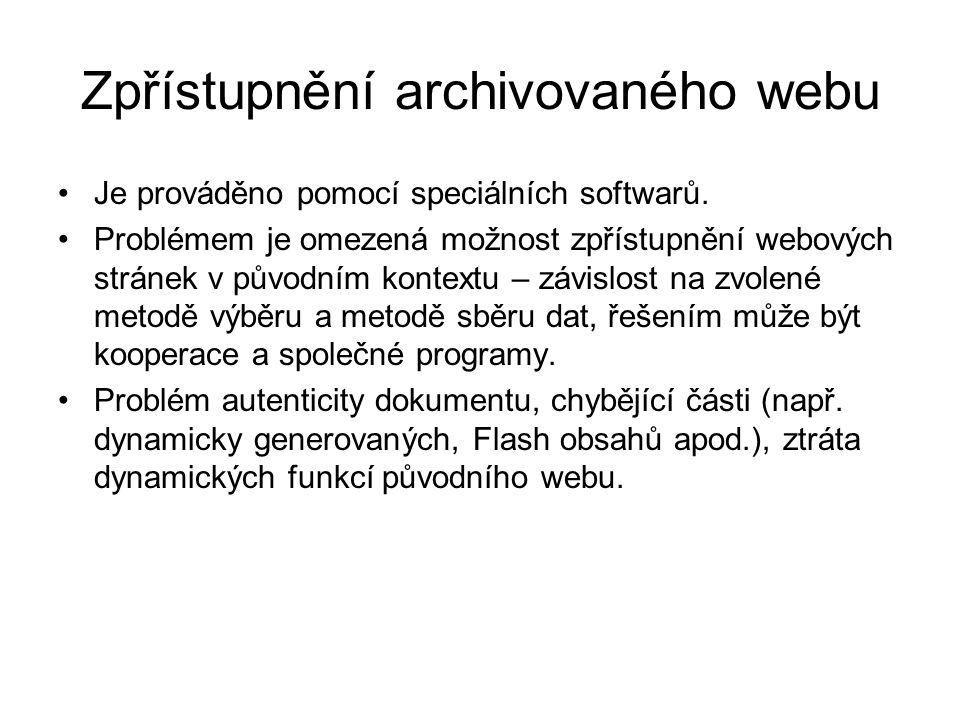 Zpřístupnění archivovaného webu