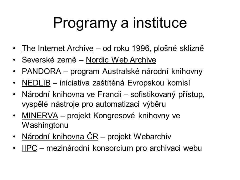 Programy a instituce The Internet Archive – od roku 1996, plošné sklizně. Severské země – Nordic Web Archive.