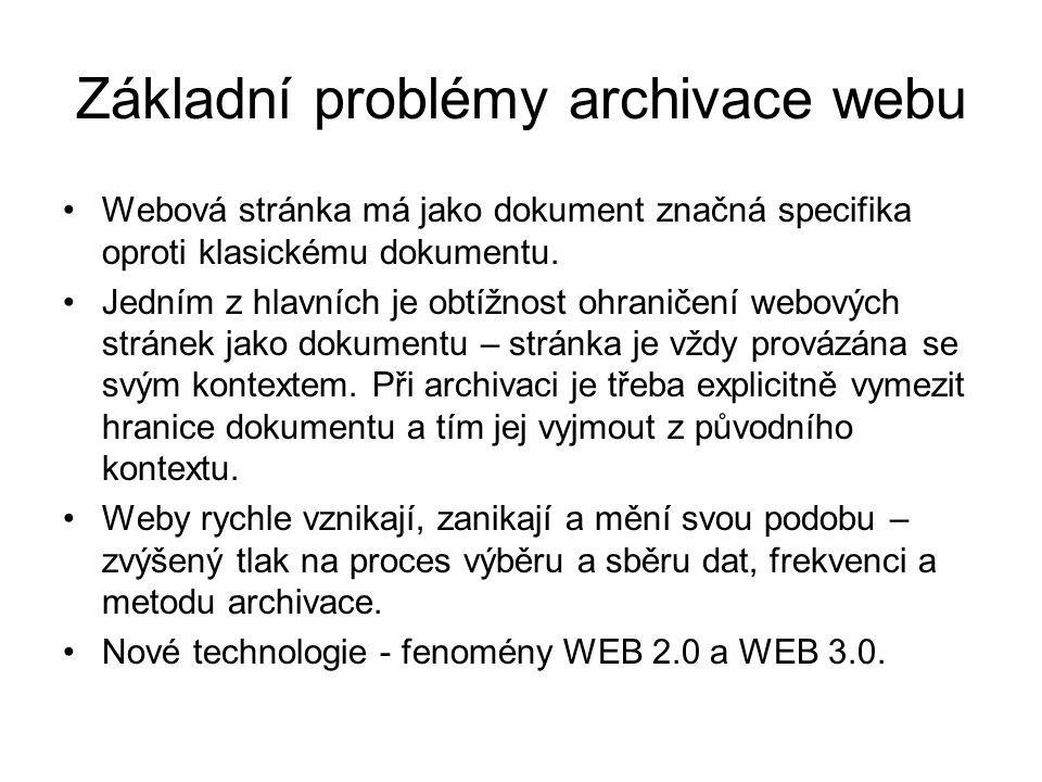 Základní problémy archivace webu