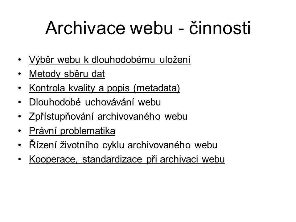 Archivace webu - činnosti