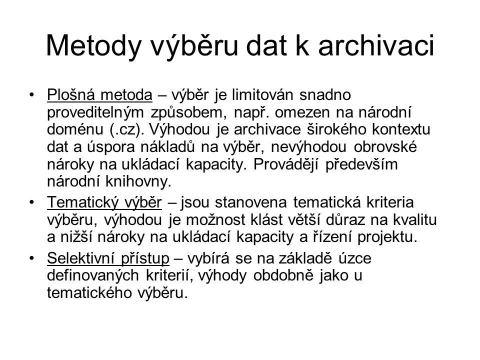 Metody výběru dat k archivaci