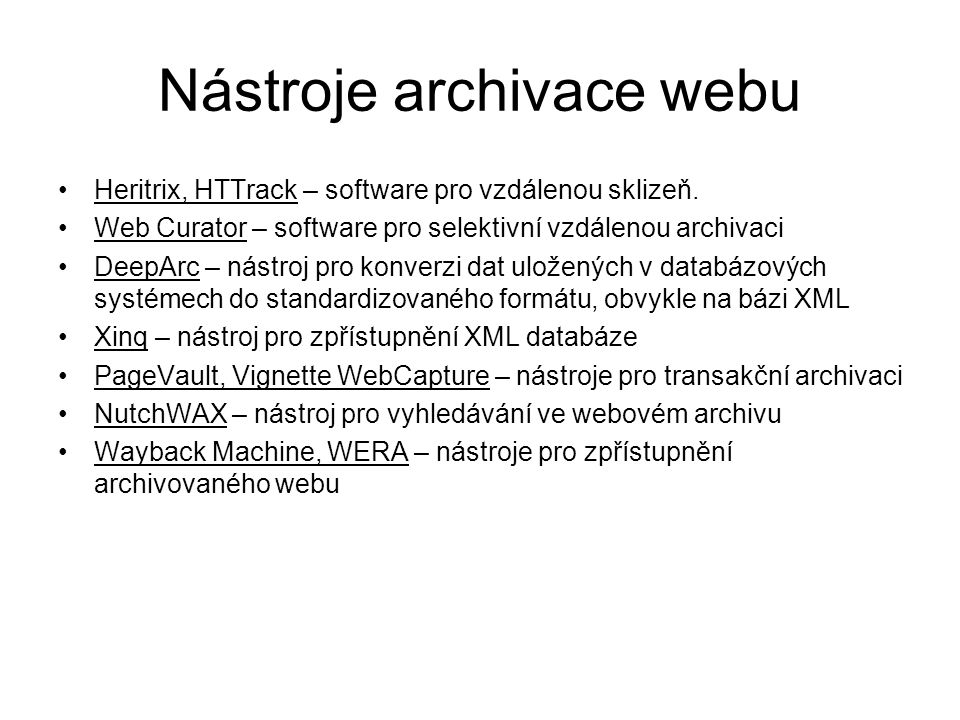 Nástroje archivace webu