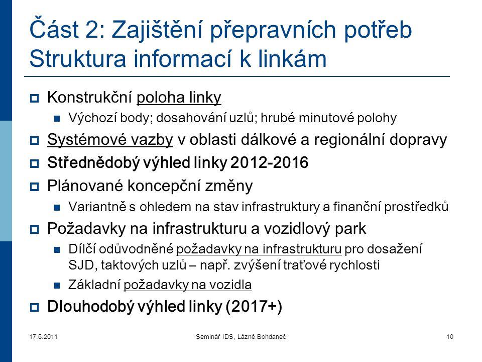 Část 2: Zajištění přepravních potřeb Struktura informací k linkám