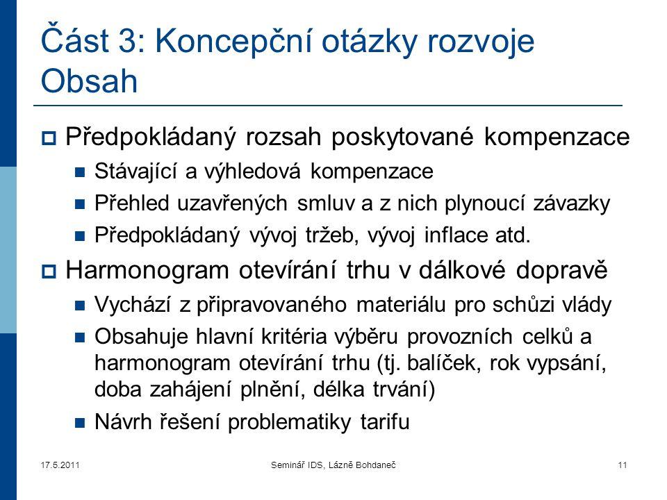 Část 3: Koncepční otázky rozvoje Obsah