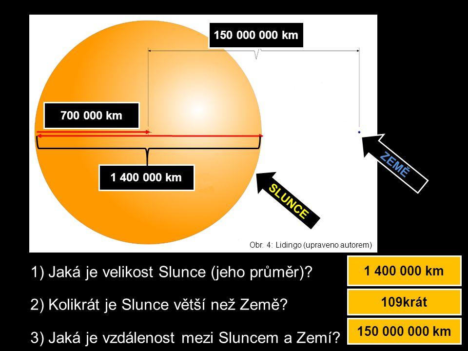 1) Jaká je velikost Slunce (jeho průměr)