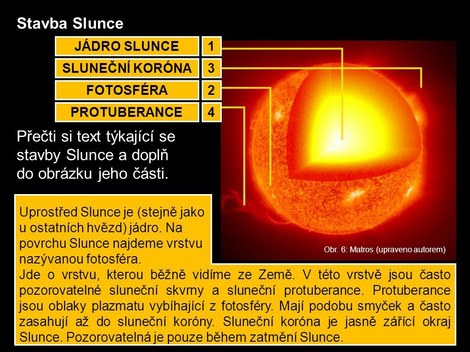 Přečti si text týkající se stavby Slunce a doplň