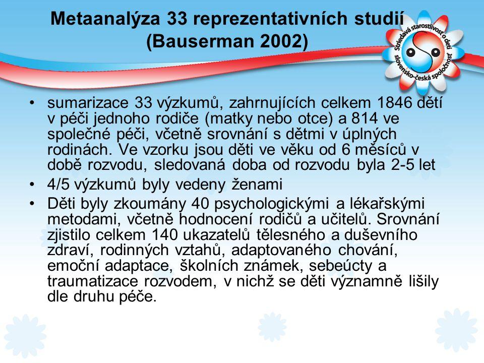 Metaanalýza 33 reprezentativních studií (Bauserman 2002)