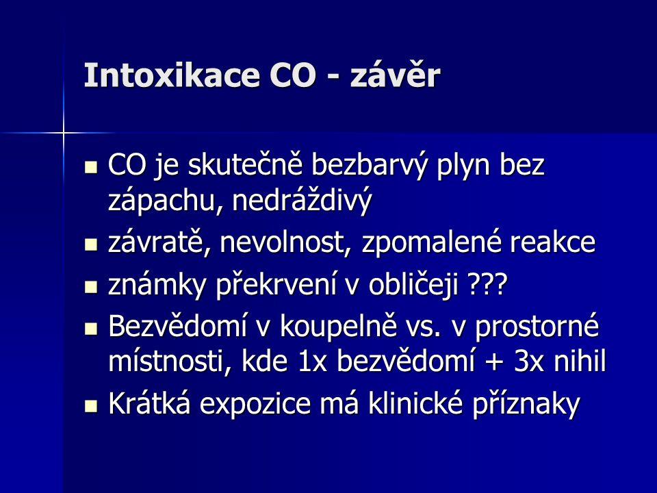 Intoxikace CO - závěr CO je skutečně bezbarvý plyn bez zápachu, nedráždivý. závratě, nevolnost, zpomalené reakce.