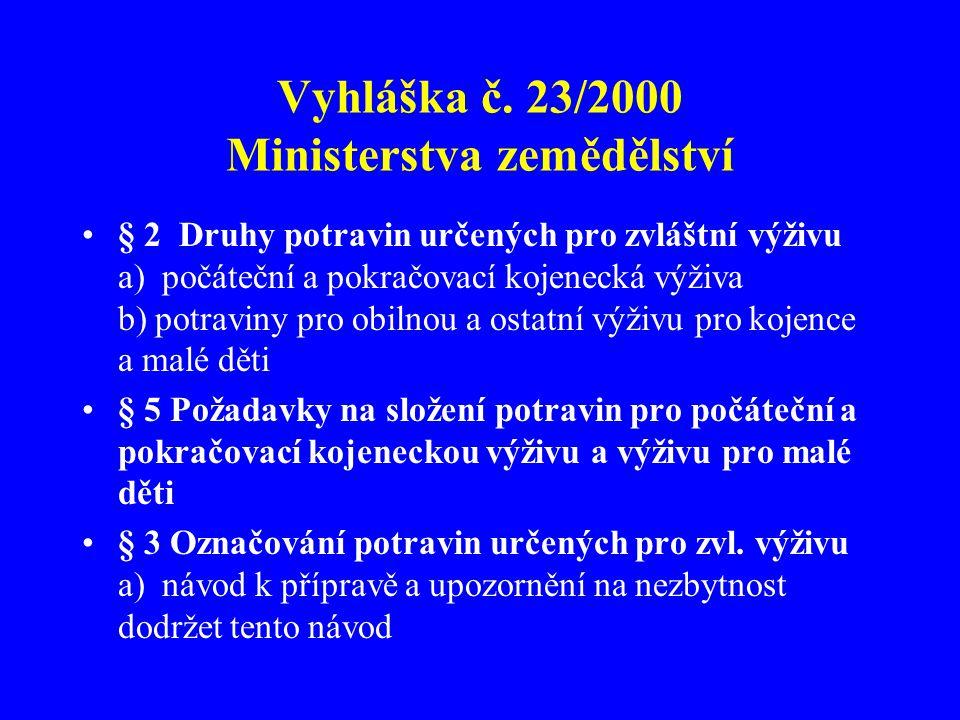 Vyhláška č. 23/2000 Ministerstva zemědělství