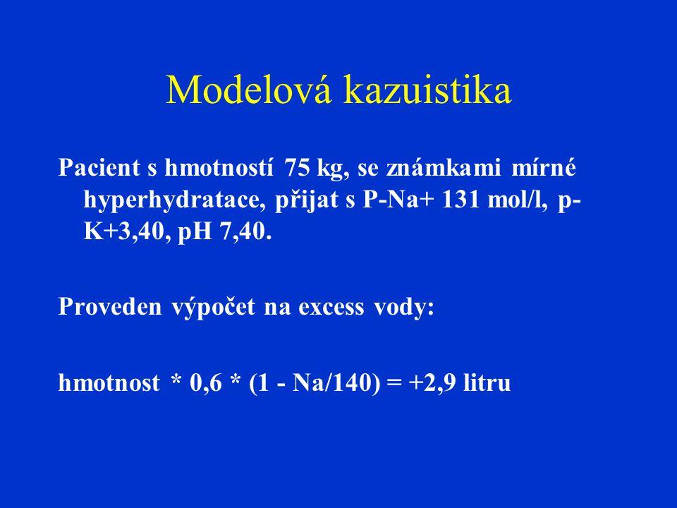 Modelová kazuistika Pacient s hmotností 75 kg, se známkami mírné hyperhydratace, přijat s P-Na+ 131 mol/l, p-K+3,40, pH 7,40.