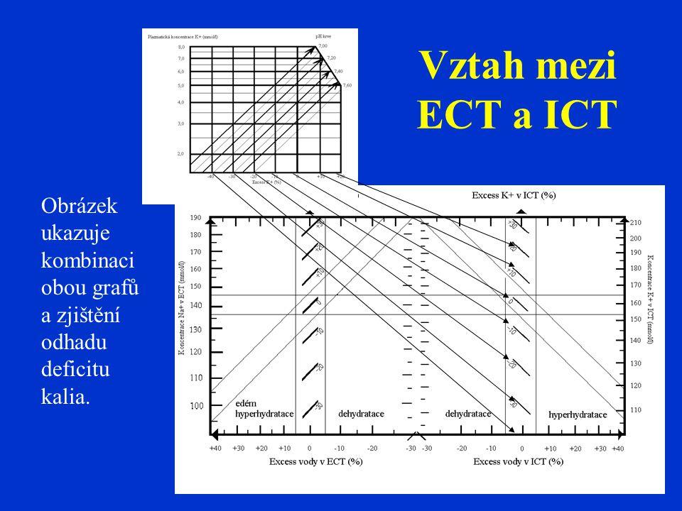 Vztah mezi ECT a ICT Obrázek ukazuje kombinaci obou grafů a zjištění odhadu deficitu kalia.