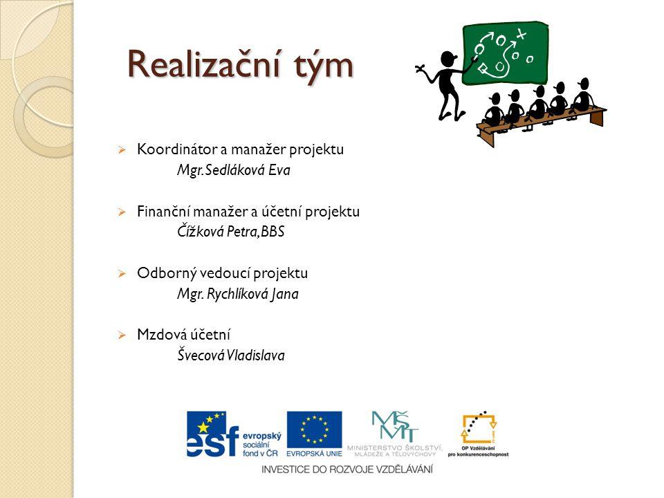 Realizační tým Koordinátor a manažer projektu Mgr.Sedláková Eva