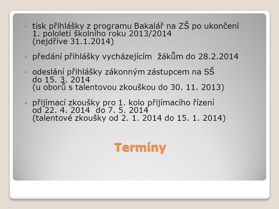 Termíny tisk přihlášky z programu Bakalář na ZŠ po ukončení