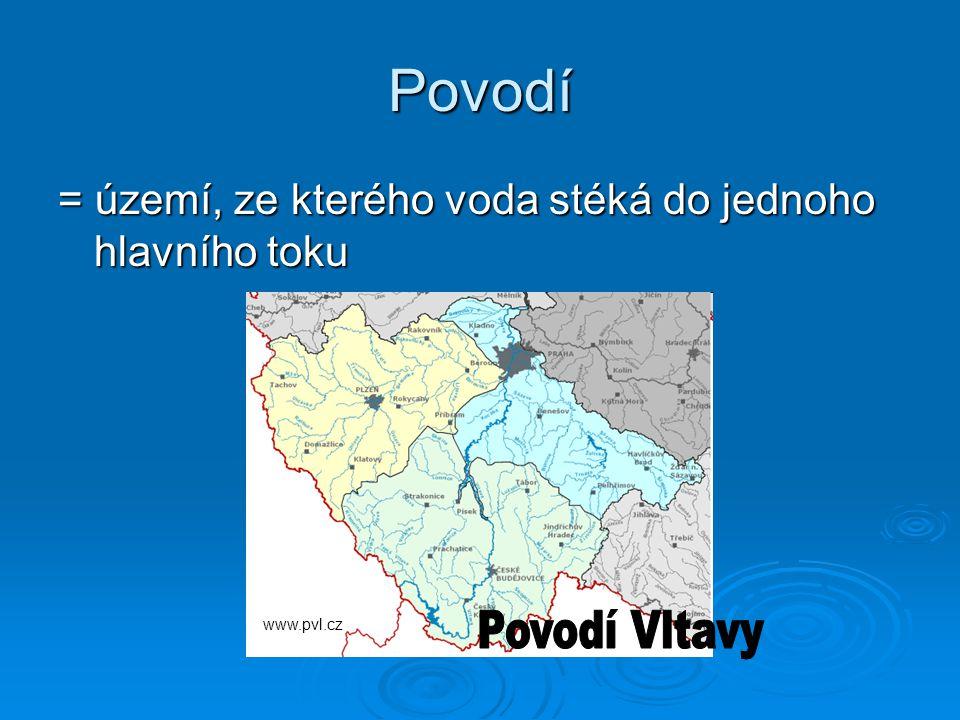 Povodí = území, ze kterého voda stéká do jednoho hlavního toku Povodí Vltavy www.pvl.cz