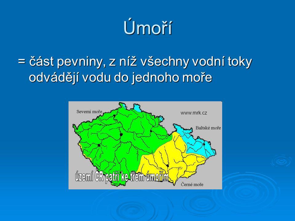 území ČR patří ke třem úmořím