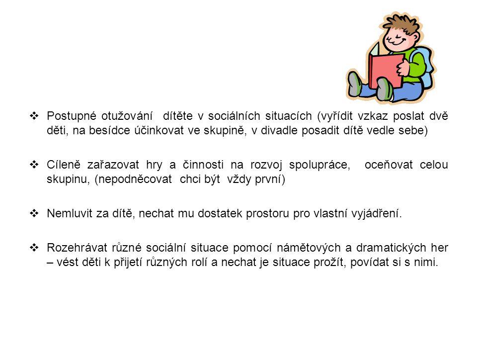 Postupné otužování dítěte v sociálních situacích (vyřídit vzkaz poslat dvě děti, na besídce účinkovat ve skupině, v divadle posadit dítě vedle sebe)