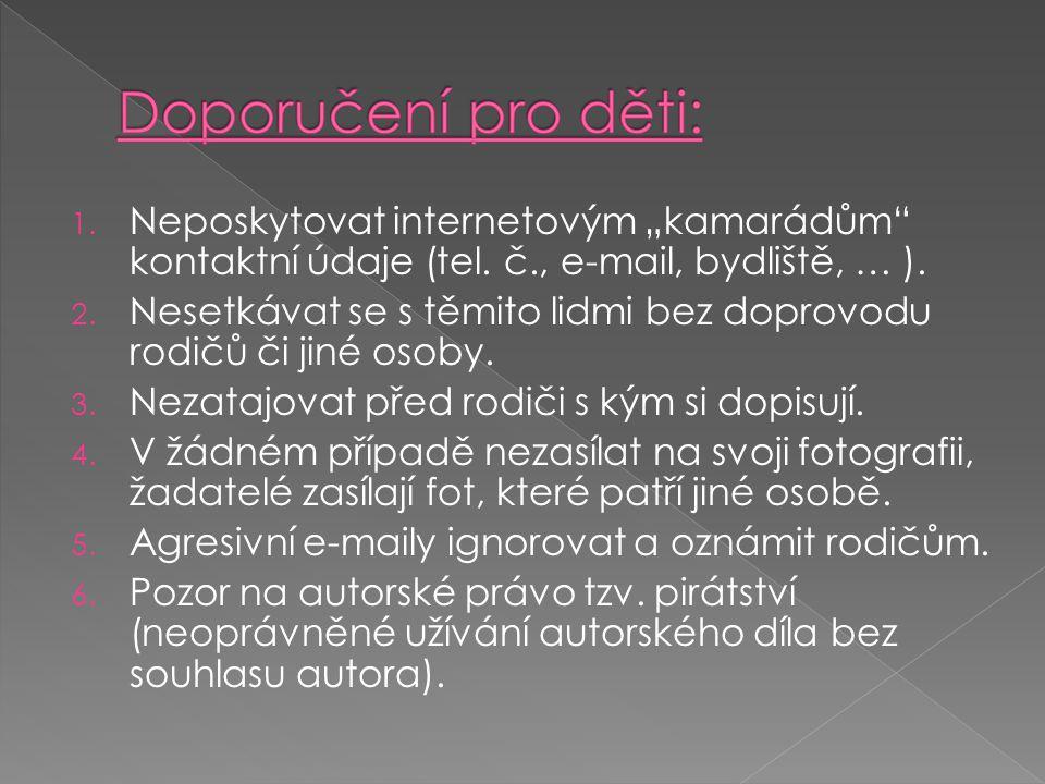 """Neposkytovat internetovým """"kamarádům kontaktní údaje (tel. č"""