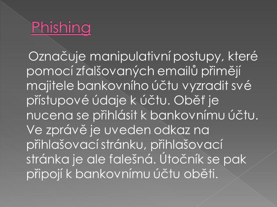 Označuje manipulativní postupy, které pomocí zfalšovaných emailů přimějí majitele bankovního účtu vyzradit své přístupové údaje k účtu.