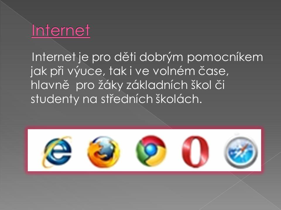Internet je pro děti dobrým pomocníkem jak při výuce, tak i ve volném čase, hlavně pro žáky základních škol či studenty na středních školách.