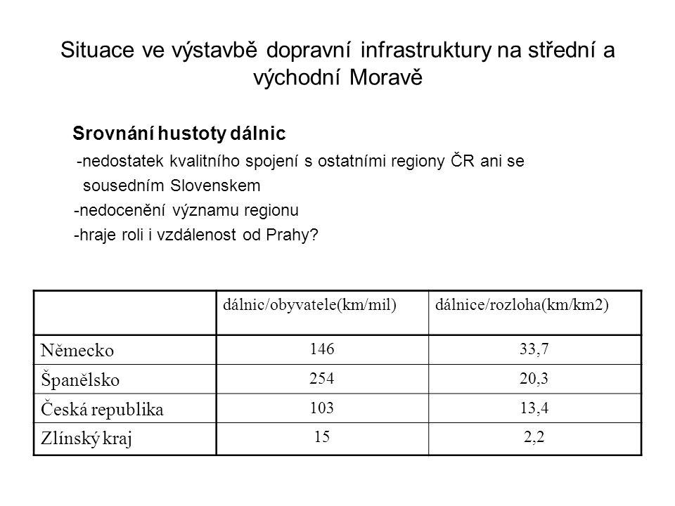 Situace ve výstavbě dopravní infrastruktury na střední a východní Moravě