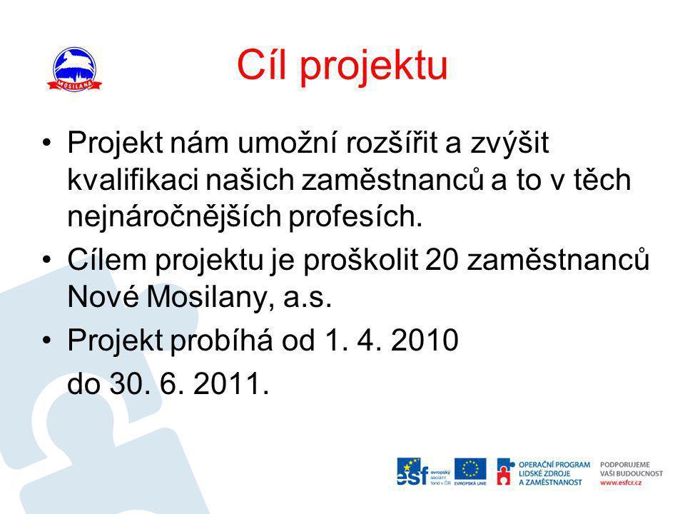 Cíl projektu Projekt nám umožní rozšířit a zvýšit kvalifikaci našich zaměstnanců a to v těch nejnáročnějších profesích.