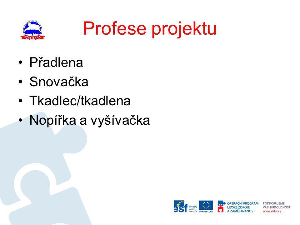 Profese projektu Přadlena Snovačka Tkadlec/tkadlena