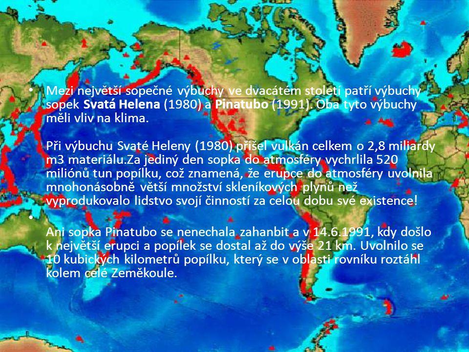 Mezi největší sopečné výbuchy ve dvacátém století patří výbuchy sopek Svatá Helena (1980) a Pinatubo (1991). Oba tyto výbuchy měli vliv na klima. Při výbuchu Svaté Heleny (1980) přišel vulkán celkem o 2,8 miliardy m3 materiálu.Za jediný den sopka do atmosféry vychrlila 520 miliónů tun popílku, což znamená, že erupce do atmosféry uvolnila mnohonásobně větší množství skleníkových plynů než vyprodukovalo lidstvo svojí činností za celou dobu své existence!