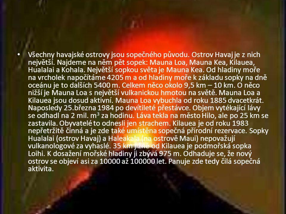 Všechny havajské ostrovy jsou sopečného původu
