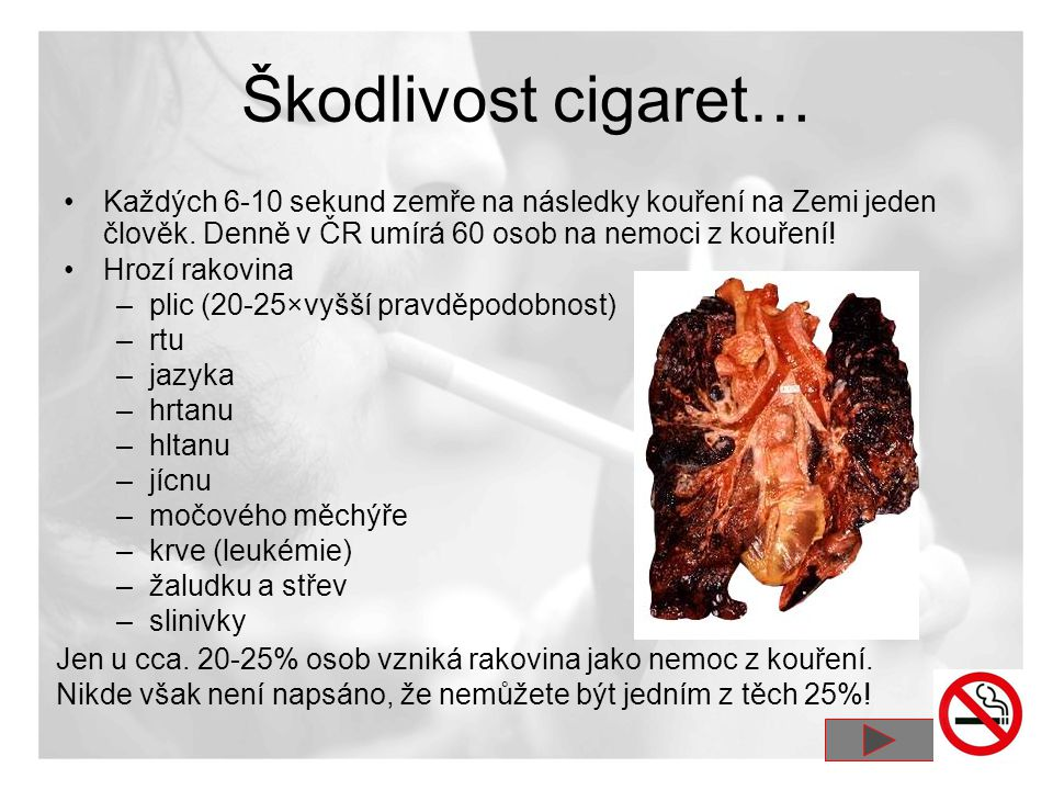 Škodlivost cigaret… Každých 6-10 sekund zemře na následky kouření na Zemi jeden člověk. Denně v ČR umírá 60 osob na nemoci z kouření!