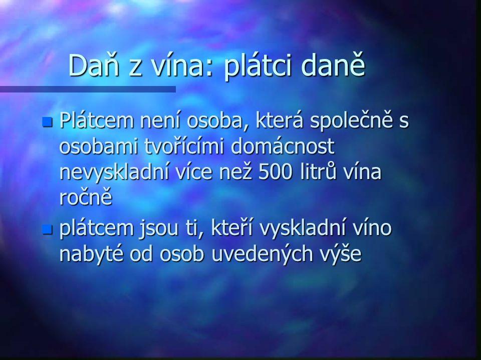 Daň z vína: plátci daně Plátcem není osoba, která společně s osobami tvořícími domácnost nevyskladní více než 500 litrů vína ročně.